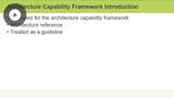 Architecture Capability Framework